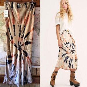 NWT Free People Serious Swagger Tie Dye Midi Skirt